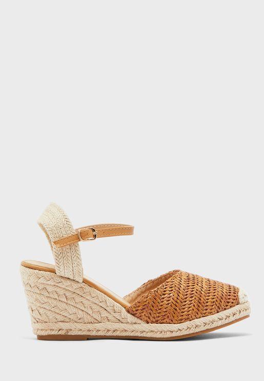 Weave Espadrille Wedge Sandals