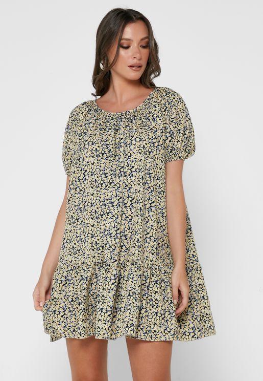 Printed Puff Sleeve Frill Hem Smock Dress