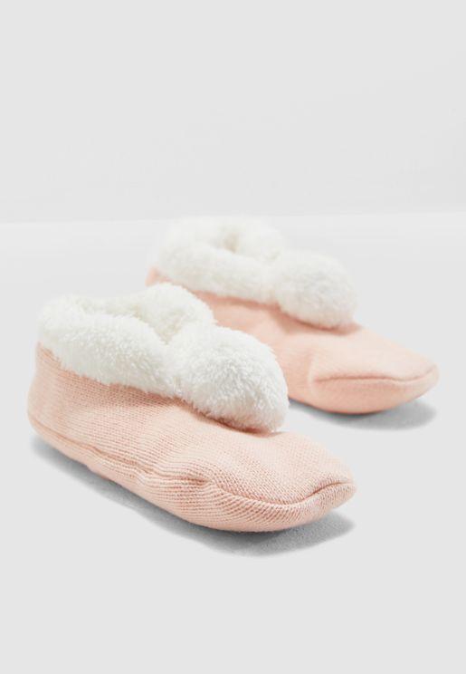 Kids Pom Pom Detail Bedroom Slippers