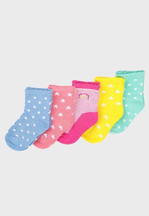 Kids 5 Pack Multi Color Socks