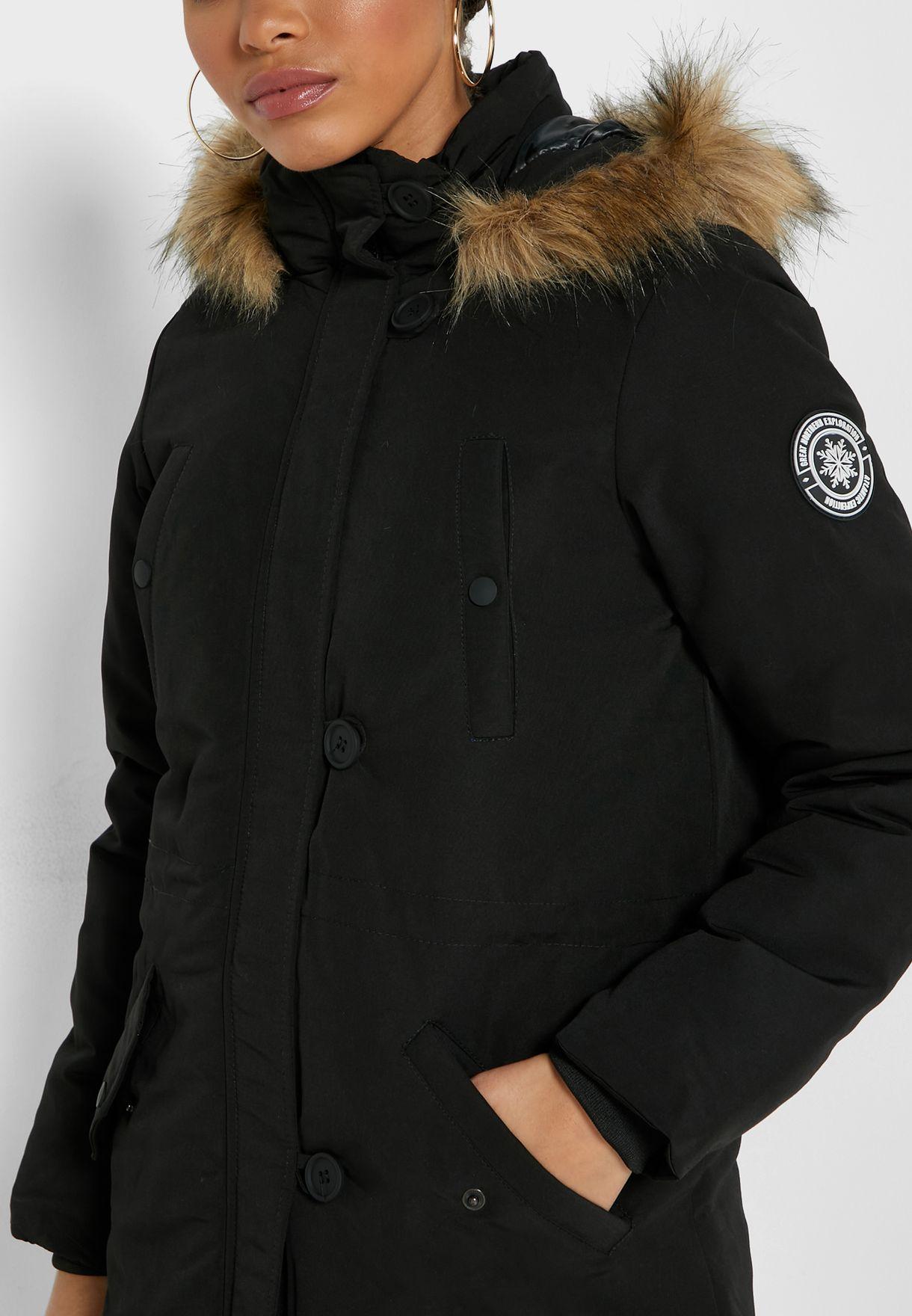 Detachable Faux Fur Puffer Jacket
