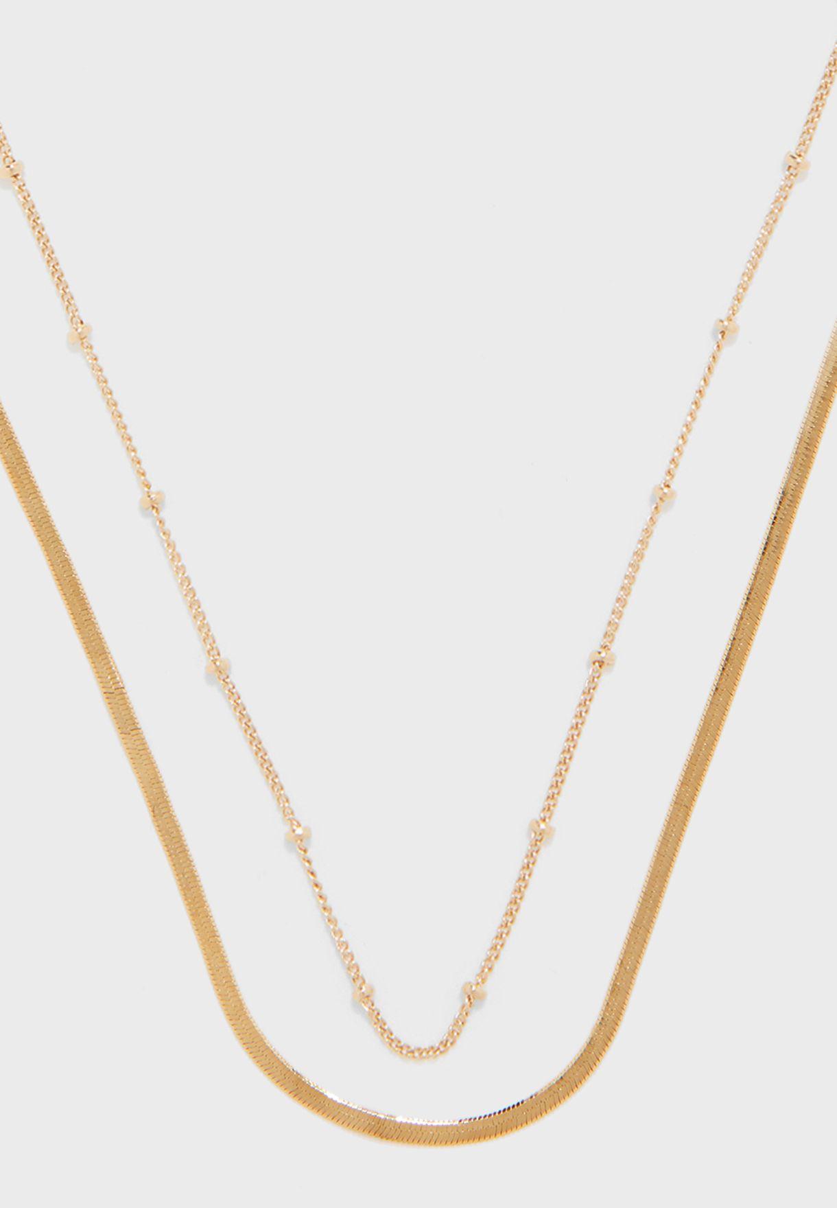 Satellite & Flat Snake Layered Chain Necklace