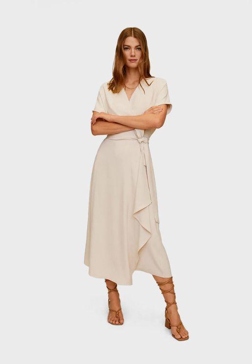 Drop Shoulder Wrap Dress