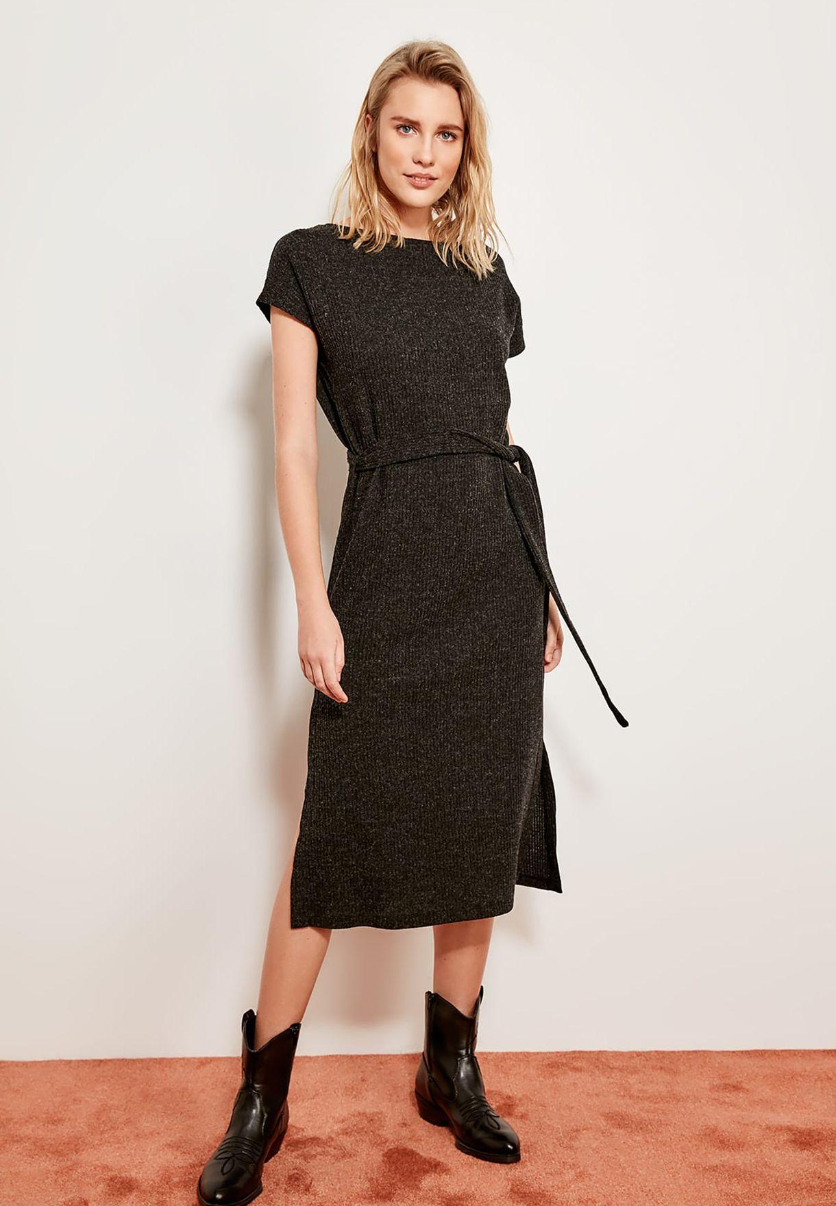 Side Slit Tie Waist Dress