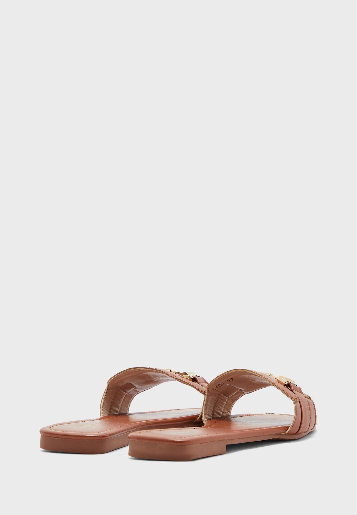 Square Toe Tbar Detail Flat Sandal