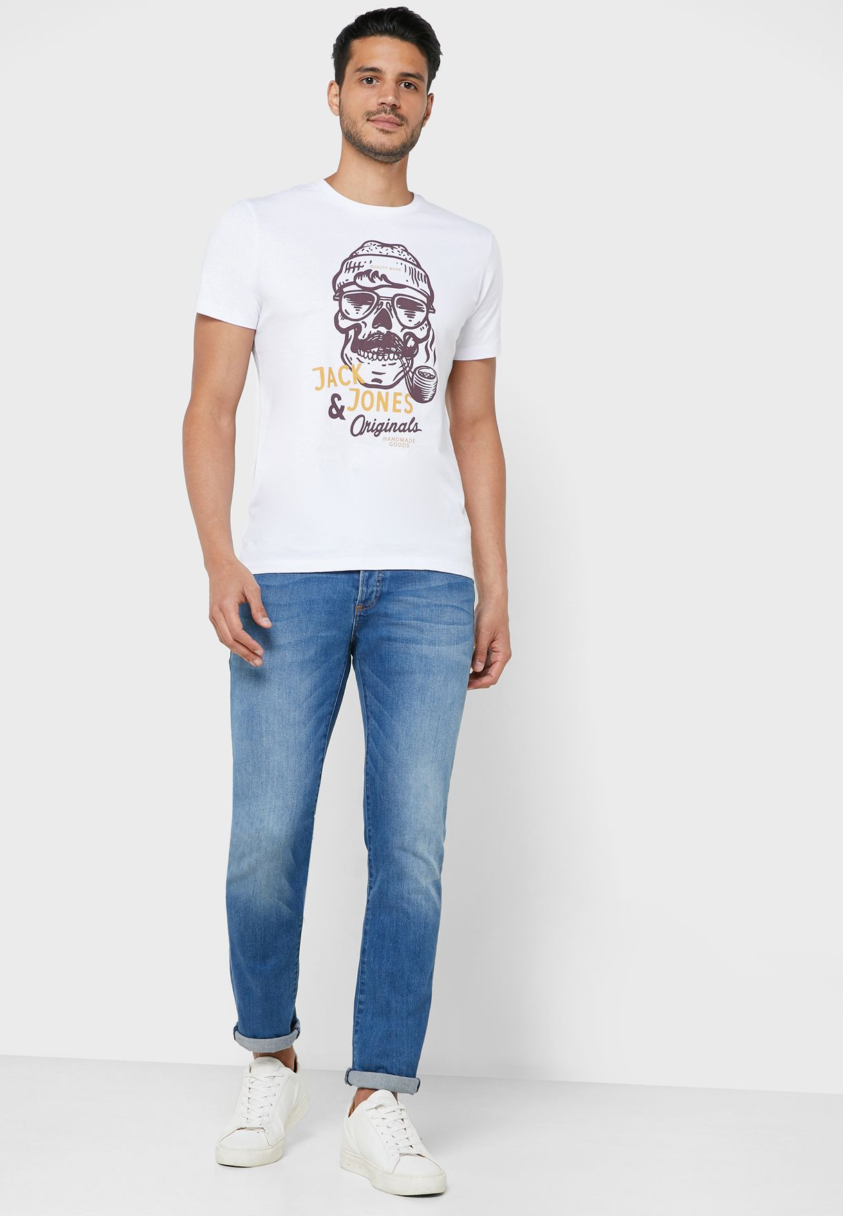 Skull Print Regular Fit Crew Neck T-Shirt