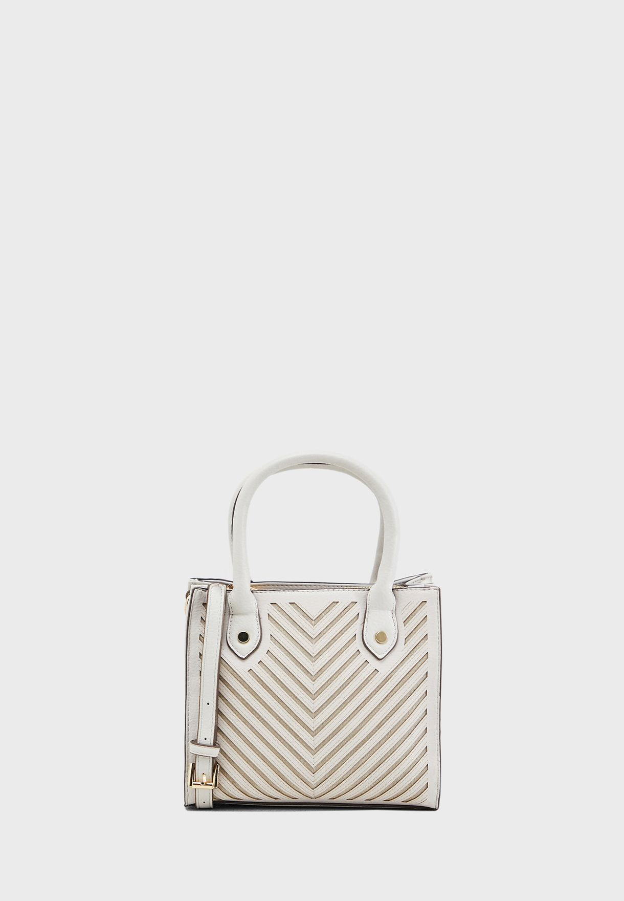 fff696a1f9b Shop Carpisa white Chevron Print Tote BS746701S19 for Women in UAE ...
