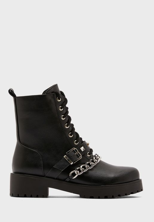 Military Boot With Chain Detail