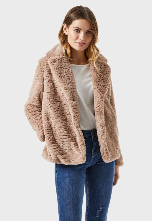 Faux Fur Textured Coat