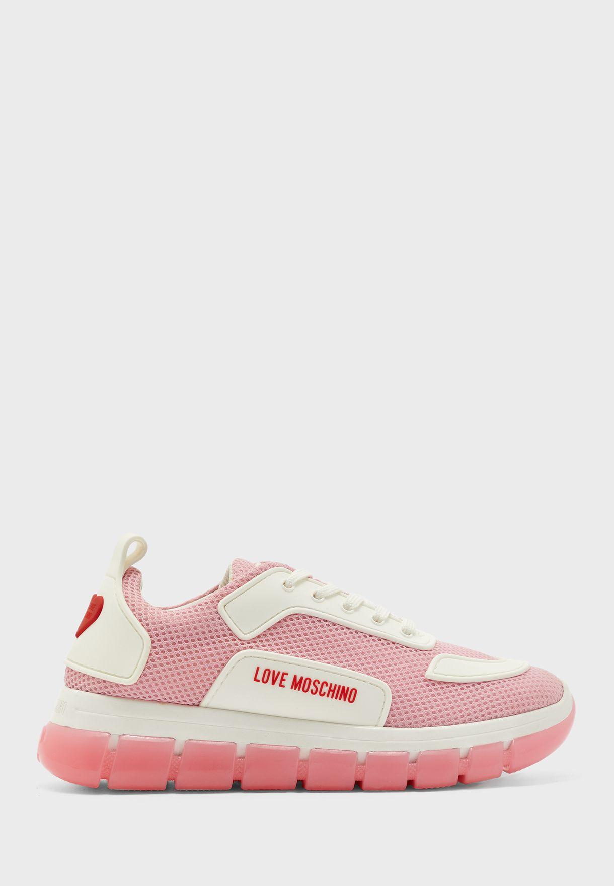 Mesh Detail Low Top Sneaker - Rosa