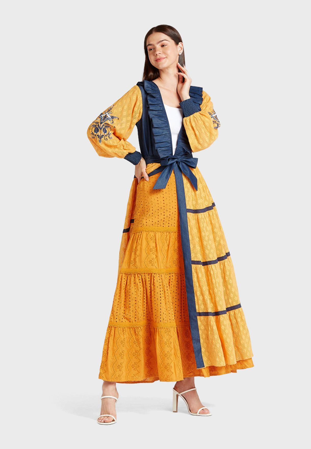 Broderie Detail Midi Skirt