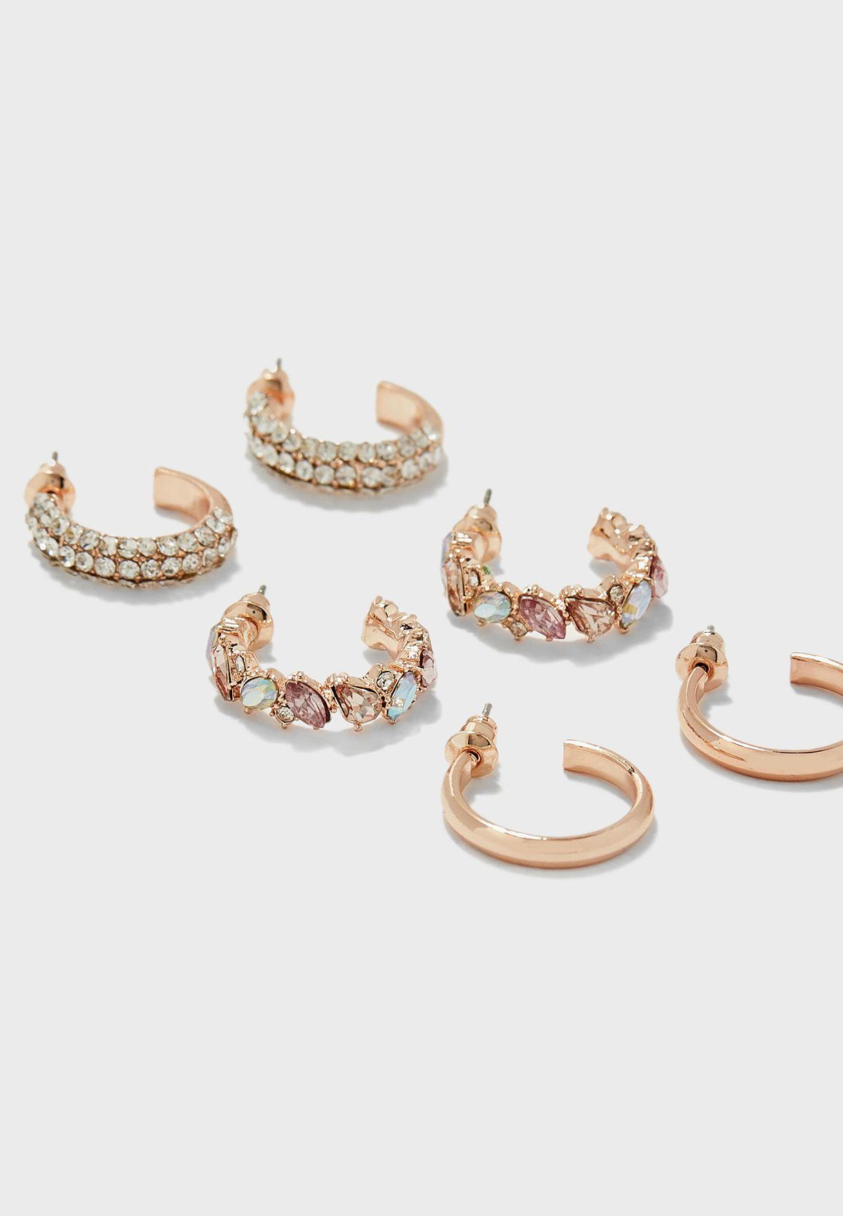 6 Pack Stud & Hoop Earrings