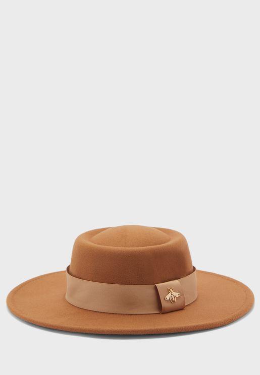 Brooch Detail Felt Hat
