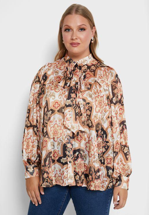 قميص مطبع باكمام منفوشة