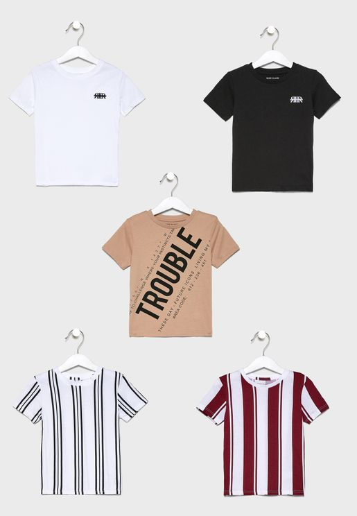 Infant 5 Pack Striped T-Shirt