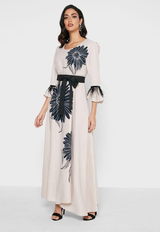 Flute Sleeve Floral Print Dress