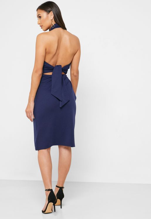 Tie Back Halter Neck Dress