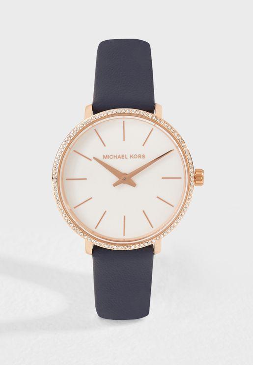 ساعة كلاسيكية بحزام جلد اصلي MK2804