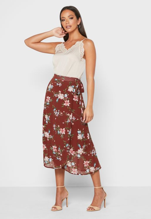Ruffle Hem Printed Skirt