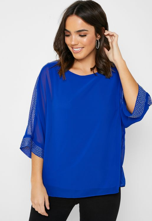 Contrast Trim Sheer Sleeve Top