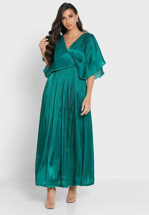 فستان لف بياقة V