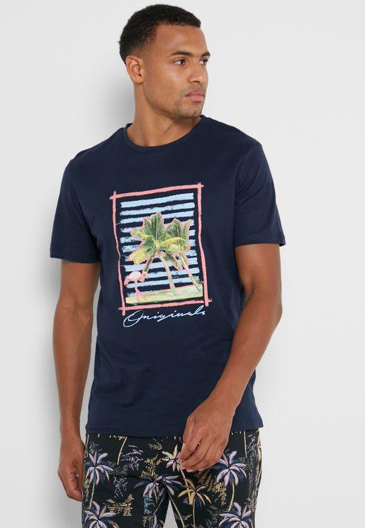 Palm Print Regular Fit Crew Neck T-Shirt