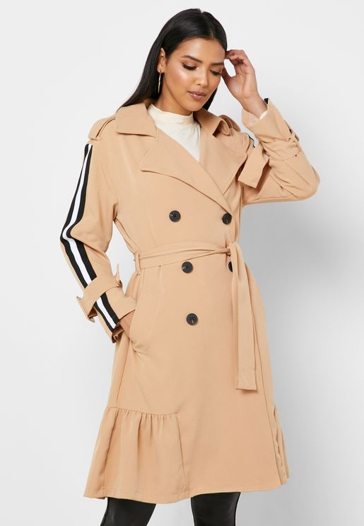 Striped Sleeve Coat