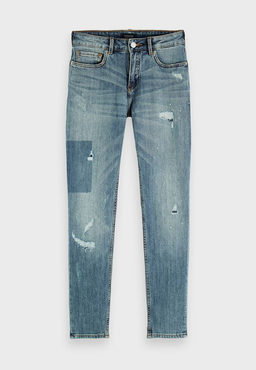 Mid Wash Distressed Jeans