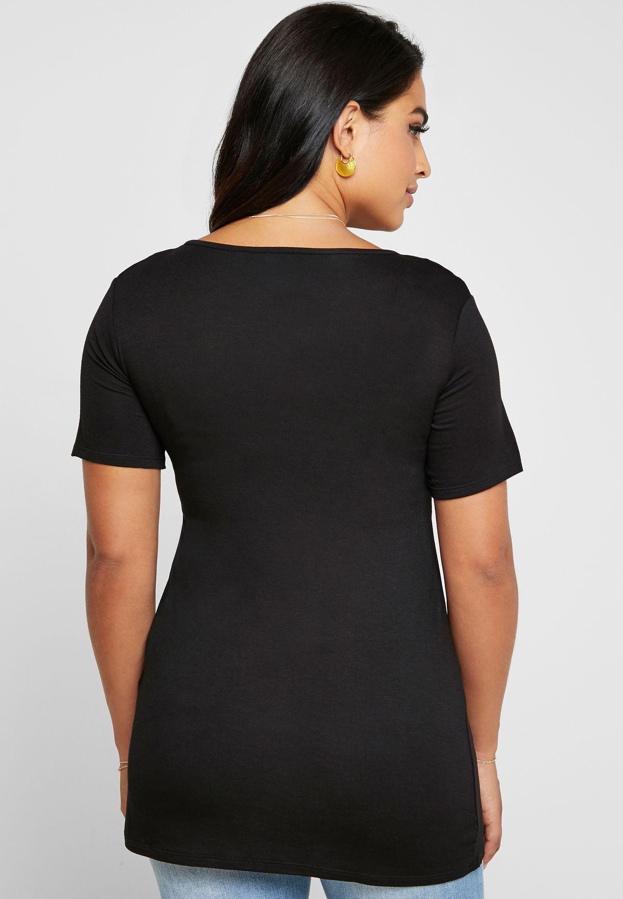2 Pack Contrast Detail T-Shirt