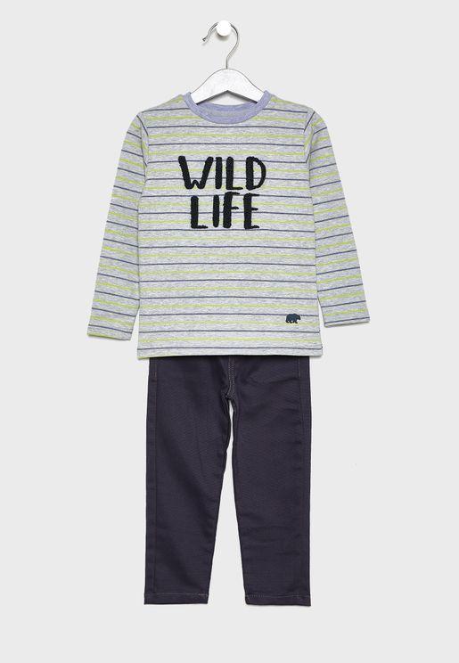 Little Striped T-Shirt + Jogg Jeans Set