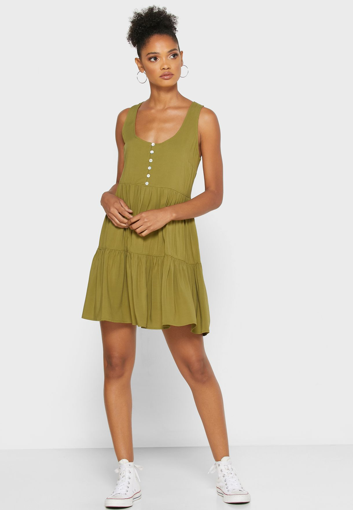 Forever 21 Pleated Button Detail Dress - Women Clothing VFaGp