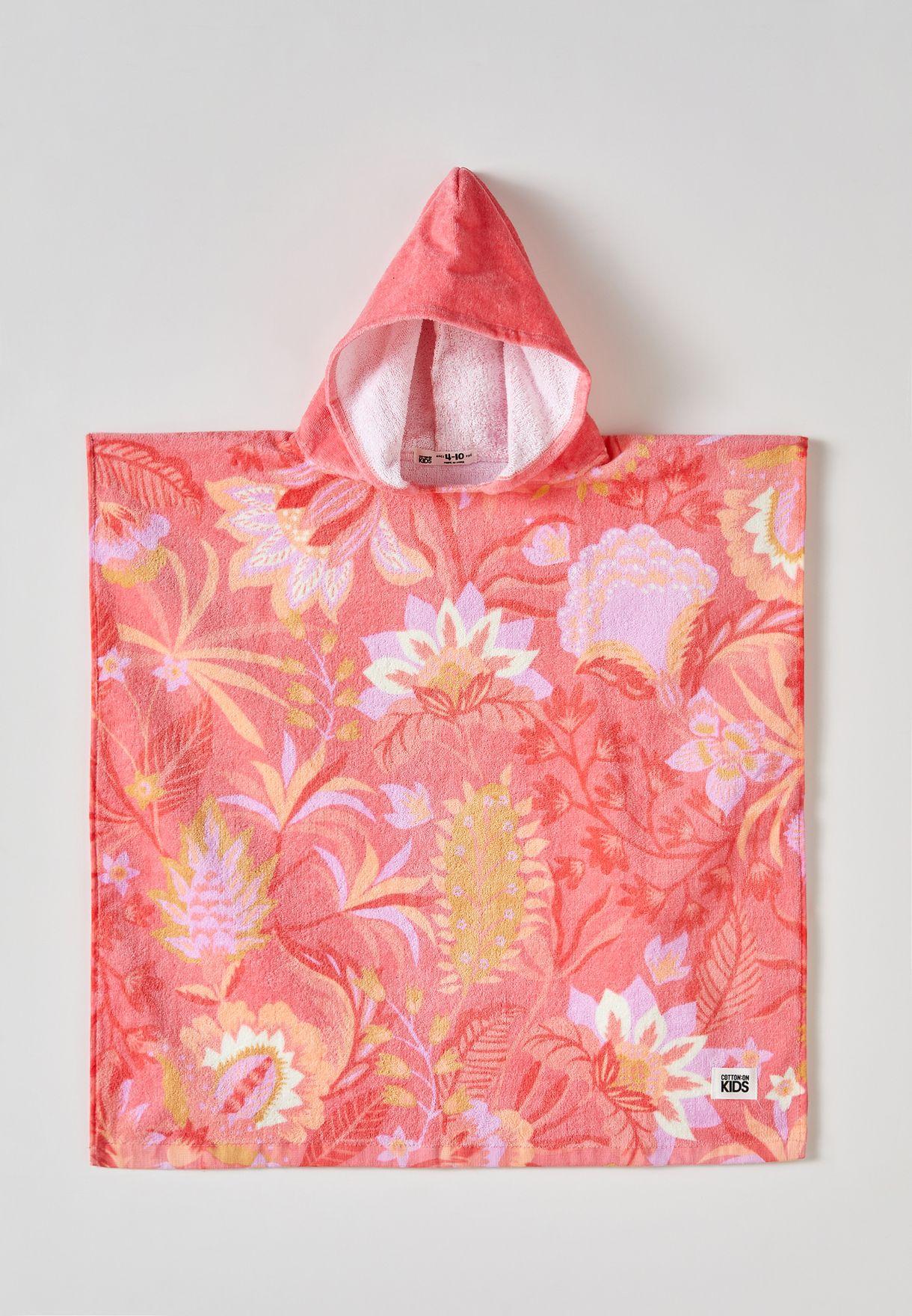 Kids Floral Hooded Towel