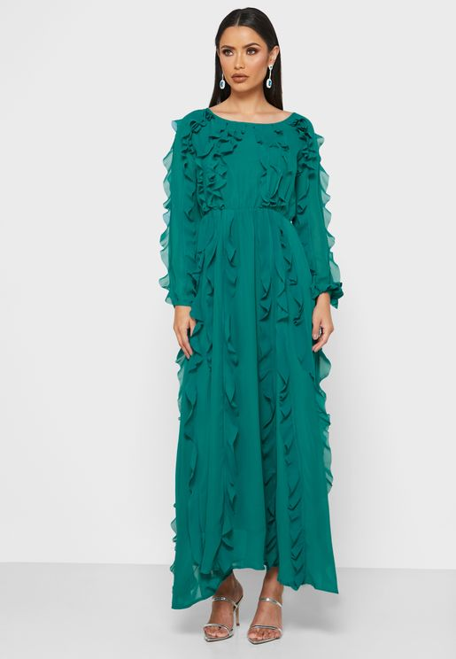 Ruffle Detail Midi Dress