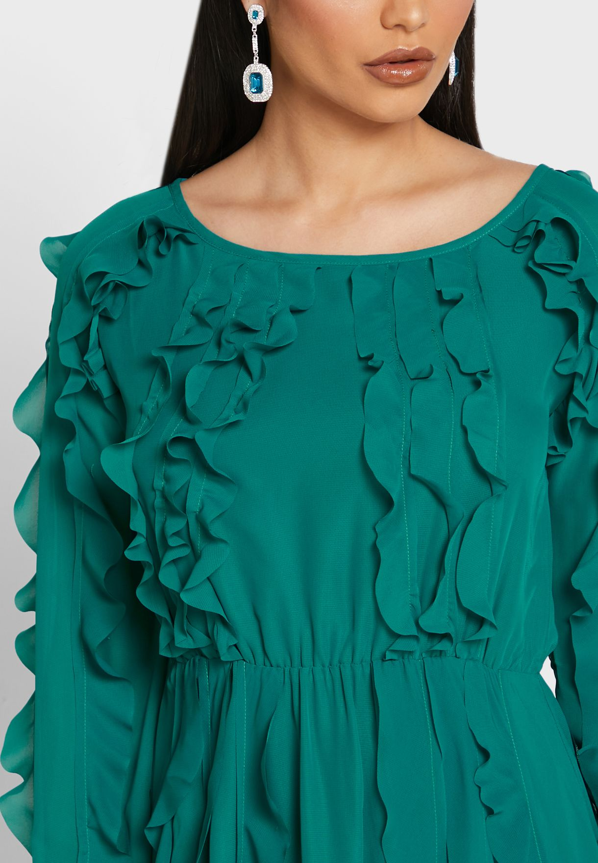 Ruffle Detail Midi Dress