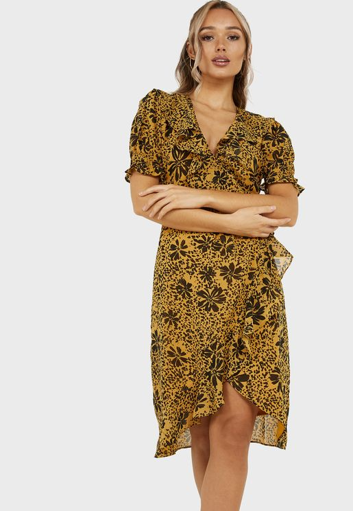 Floral Frill Front Wrap Midi Dress