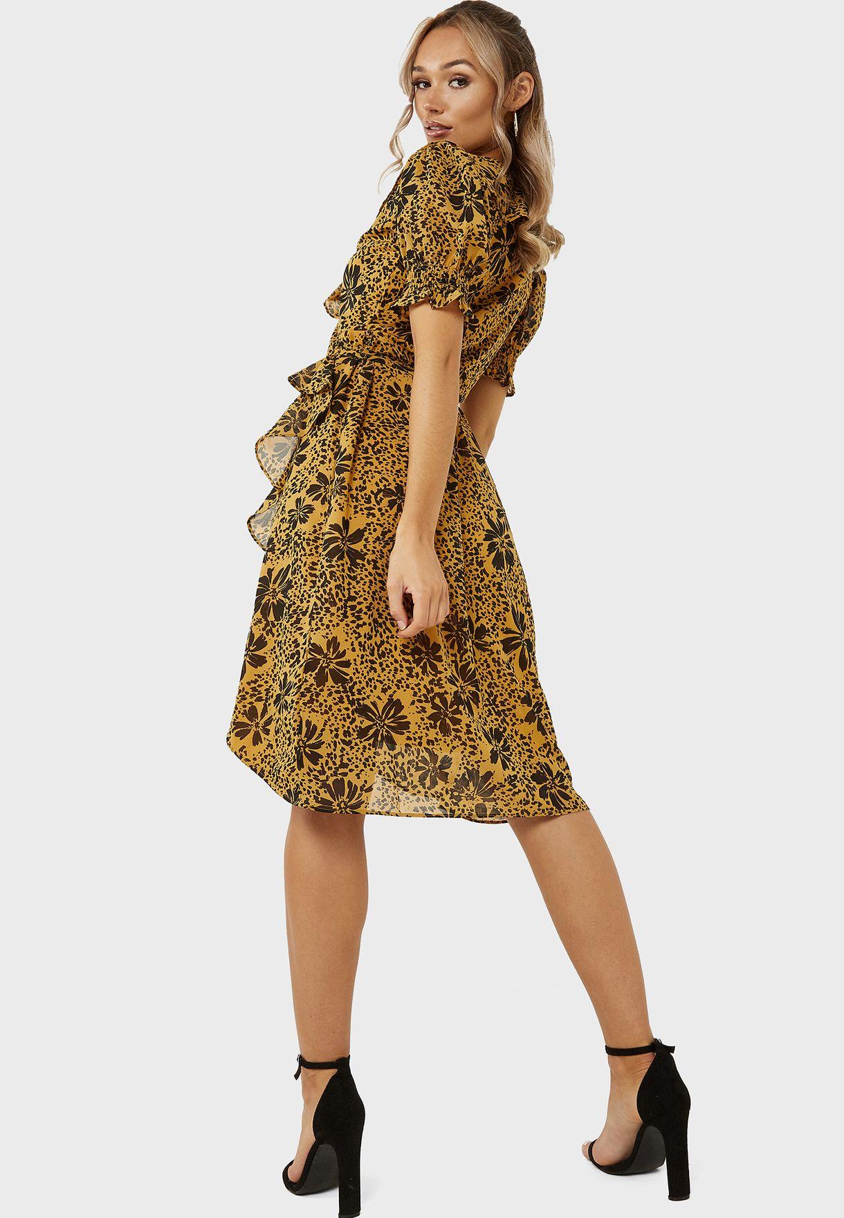 فستان ميدي لف بطبعات ازهار