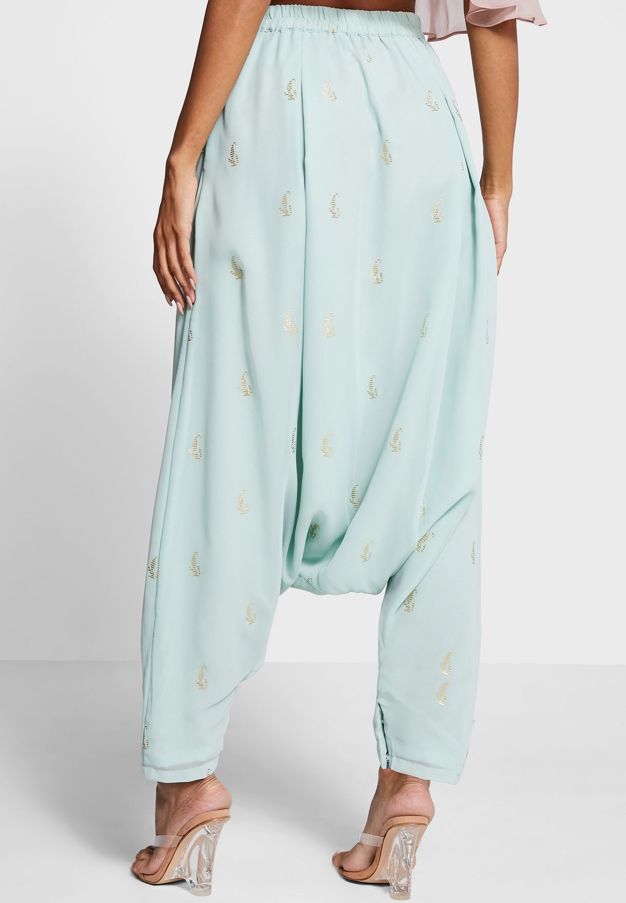 Indya X Payal Singhal Mint Mukaish Print Dhoti Pants