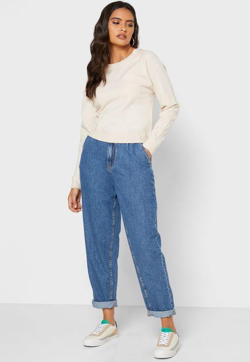 Roll Hem Boyfriend Jeans