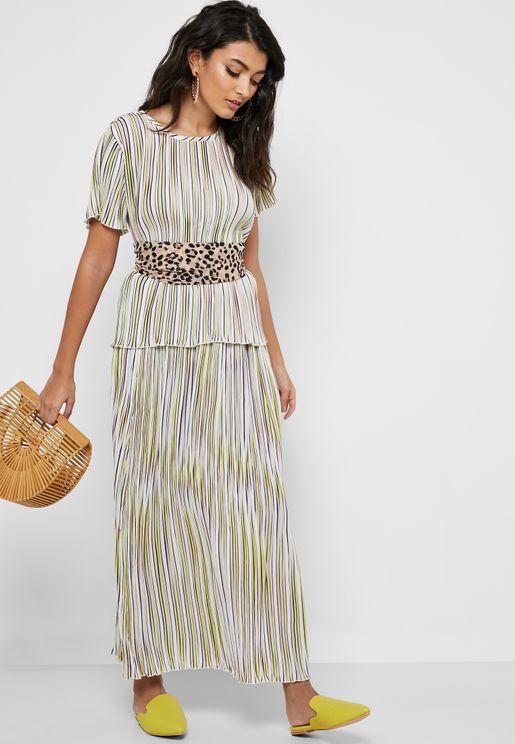 Multicolor Striped Maxi Skirt
