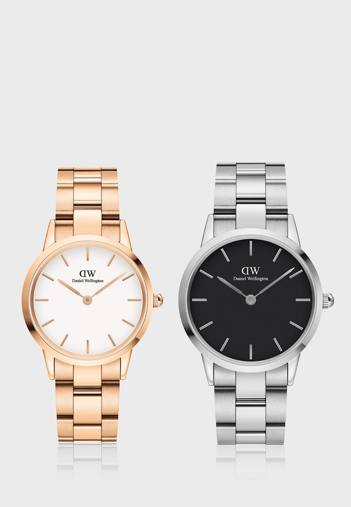 Iconic Link, 32mm Rose Gold White Watch + Iconic Link, 36mm Silver Black Watch