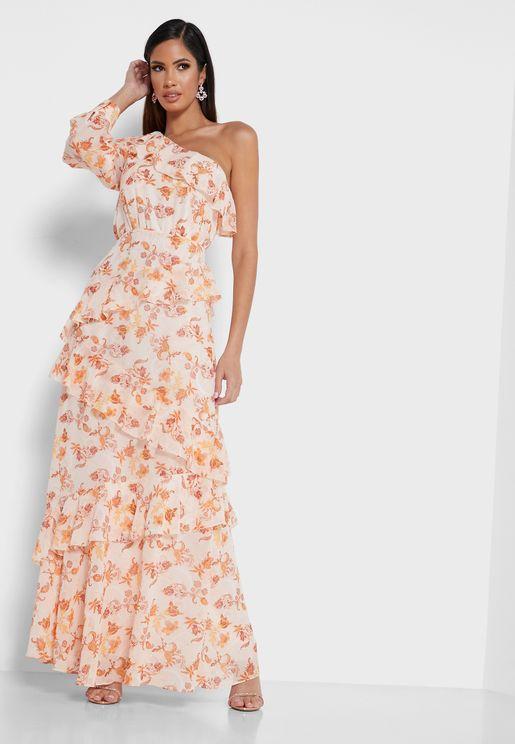 فستان متعدد الطبقات بكم واحد
