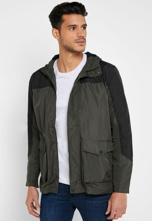 Colourblock Parka Coat