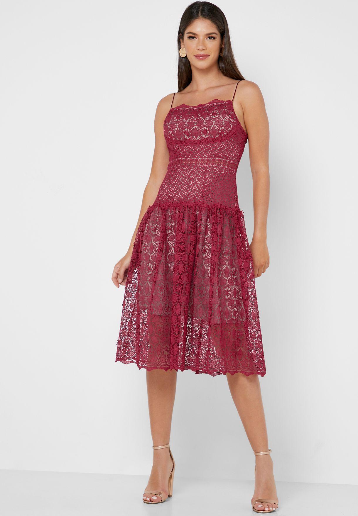 Sheer Detail Lace Skater Dress