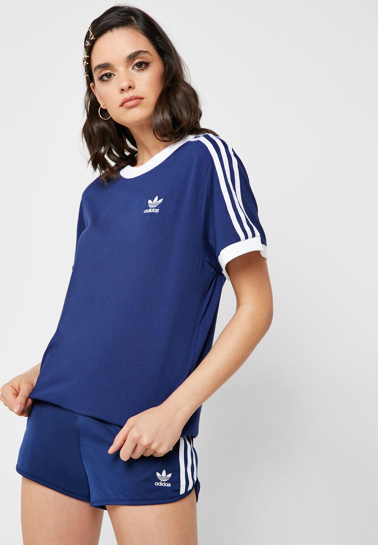 2c6b11ee Shop adidas Originals navy 3 Stripes T-Shirt DV2592 for Women in ...