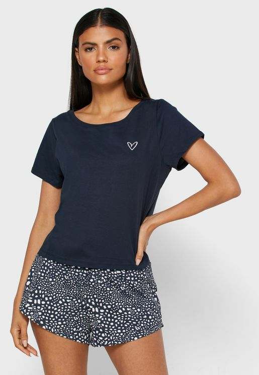 Round Neck T-Shirt & Printed Shorts Set