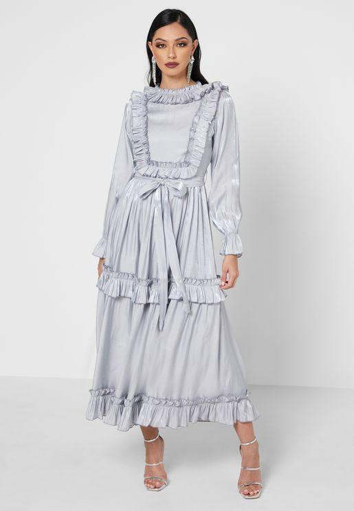 Ruffle Trim Tie Waist Dress