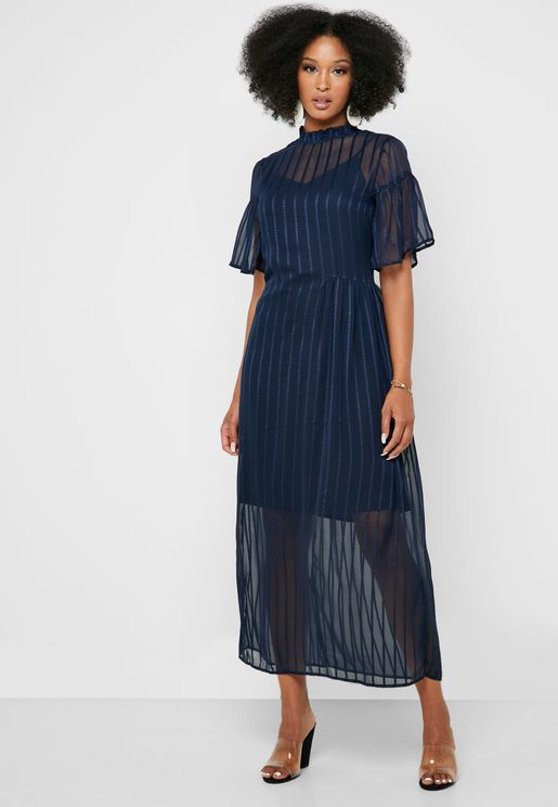 High Neck Sheer Detail Striped Dress