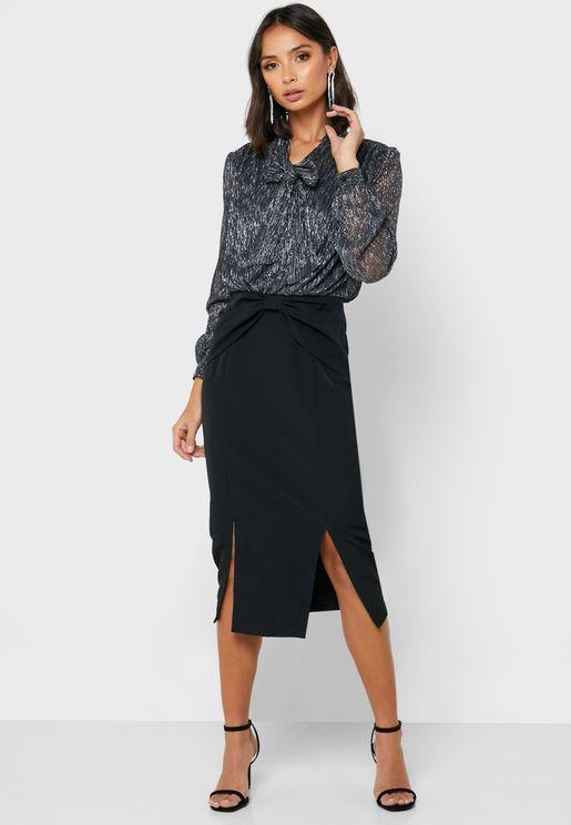 Tie Neck Front Split Shimmer Dress