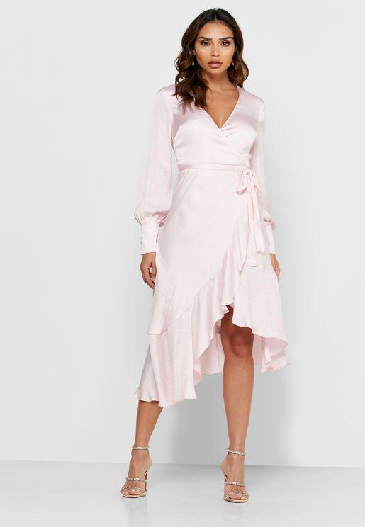 Ruffle Trim High Low Bodycon Dress