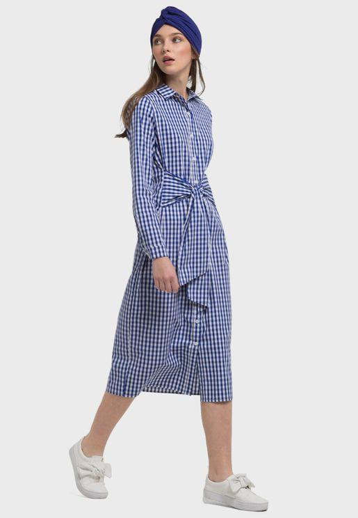 فستان مزين بطباعة مربعات